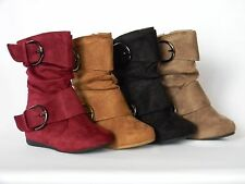 New Girls Baby Toddler Kids Boots Taupe Black Burgundy Faux Suede Winter Buckle