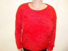 Ladies Women Fluffy Furry Round Neck Long Sleeved Top Jumper 12 14 16 18