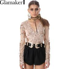Glamaker Deep V Neck Sequin Bodysuit Transparent Mesh Long Sleeve Bodycon Top