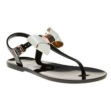 New Womens Ted Baker Black Soami Pvc Sandals Flats Buckle Straps