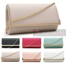 LADIES CRISS CROSS TEXTURE FAUX LEATHER SQUARE METAL TRIM CHAIN STRAP CLUTCH BAG