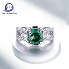 Merthus 10CT Emerald 925 Sterling Silver Ring Band Party Jewlery Size 6 7 8 9