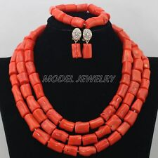 Natural Orange Coral Necklace Sets,African Coral Beads Necklace Jewelry Sets