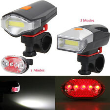 COB LED Bike Cycle Bicycle Front Rear Tail Light+5LED Taillight Night Reflector