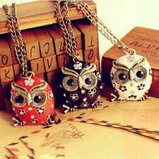 1Pcs Long Rhinestone Crystal Necklace Chain Charms Pendant Sweater Owl Pop Retro