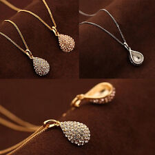 1Pcs Women Pendant Shiny Necklace Teardrop Crystal Plated  Gold Plated Silver