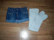 next girls denim shorts & tights set age 8 years