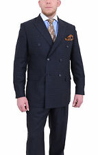 Steven Land Classic Fit Blue Tonal Check Double Breasted Super 150's Wool Suit