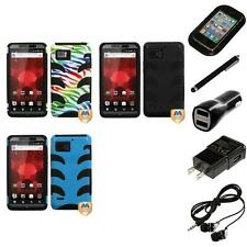 For Motorola Droid Bionic XT875 Hybrid IMPACT Hard Soft Rugged Case Headphones