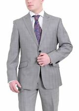 Tommy Hilfiger Trim Fit Gray Plaid Two Button Wool Suit With Peak Lapels