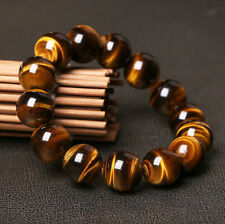 Natural Tiger Eye Stone Round Beads Stretchy Men Bracelet Bangle Jewelry Gift