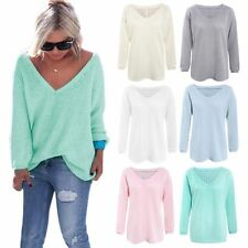 Oversized Womens Sweater Jumper  V Neck Knitted Pullover Loose Sweatshirt Blouse