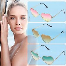 Retro UV400 Girl Metal Frame Heart Shaped Sunglasses Gradient Shades Lens F7XD