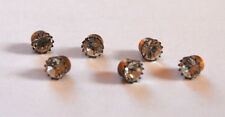 VINTAGE TINY SWAROVSKI RHINESTONE BUTTONS DOLL 5mm 20ss • ASSORTED COLORS •BRASS