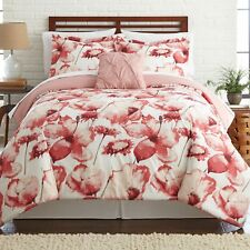 NEW Twin Full Queen King Bed Pink White Large Floral 8pc Comforter Sheet Set NWT