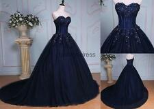 New Sexy Long Lace Sheer Corset Quinceanera Dress Prom Ball Gown Wedding Gown