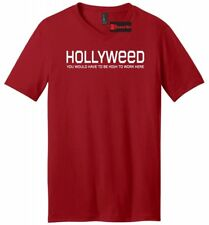 Hollyweed High To Work Here Funny Mens V-Neck T Shirt Hollywood Sign Cali Stoner