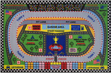 Multi-Color Contemporary Machine Made Track Pit Cars Area Rug Sports FT-120
