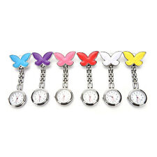 Cute Pendant Butterfly Nurse Clip-on Brooch Quartz Hanging Pocket Watch New HP