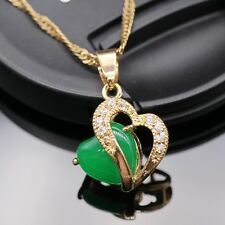 2016 Fashion Green Jade Heart 18k Gold Plated Necklace Pendant Chain Jewelry