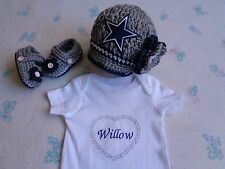 Crochet Dallas Cowboys Baby Girl Hat, Booties and Personalized Bodysuit