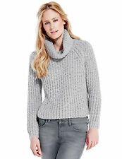 GORGEOUS LADIES GREY CHUNKY KNIT COWL NECK JUMPER  MARKS & SPENCER £49 BNWT