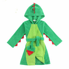 New Boys Green Dinosaur Fleece Hooded Bath Robe for 4-12yrs