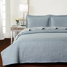 NEW Twin XL Full Queen Cal King Bed Light Gray 3 pc Coverlet Quilt Bedspread Set