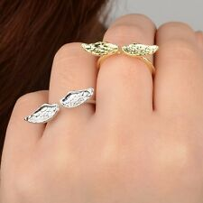 Silver or Gold Plated Angels Wings Fairy Adjustable Finger Ring in Gift Bag/Box