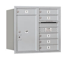 6 Door Rear Load 4C Horizontal Mail Center with 1 Parcel Locker