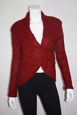 NEW MOSSIMO WOMEN CABLE KNIT ONE-BUTTON CARDIGAN BURGUNDY SWEATER SIZE XS, XL