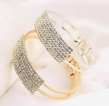 1Pcs Gold Silver Plated Bracelet Cuff Elegant Women Crystal Jewelry Bangle Gift