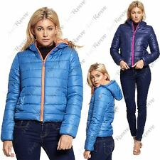 New Womens Hooded Puffa Bubble Padded Quilted Thick Winter Jacket Zip Up Coat
