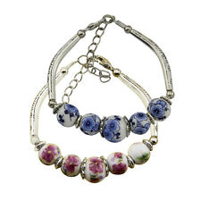 Retro Women Girl Ceramic Beads Flower Bracelet Porcelain Alloy Carving 2 Colors