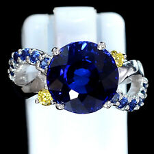 4.75 CT ROYAL BLUE SAPPHIRE ROUND FACET SILVER 925 COCKTAIL RING SIZE 4.5