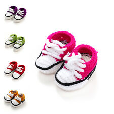 Baby Girl Boy Crochet Socks Handmade Soft Sole Crib Pram Shoes Prewalker SZ 3-9M