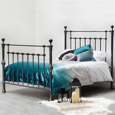 Black Nickel Metal Bed Frame Modern Double King Size High Quality Stunning Bed
