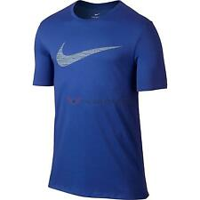 New Nike Mens Dri-Fit Swoosh Heather T-Shirt Game Royal Blue All Sizes
