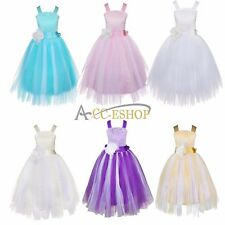 Flower Girl Dress Kids Pageant Wedding Bridesmaid Party Crossed Back Tulle Dress