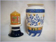 Ceramic Floral Vase (Blue/White/Yellow) & Blue Pillar Candle Holder & Candle
