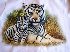 NEW WILDLIFE NATURE ANIMAL TSHIRT - White Tigers Mother and Cub