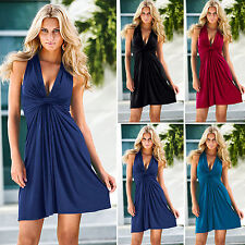 Sexy Womens V Neck Summer Sleeveless Evening Party Cocktail Gown Dress Size 6-14