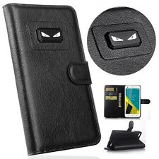Angry eyes Litchi Leather wallet flip stand pouch Cover Case For wiko Model