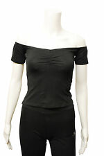 Womens New Look Off The Shoulder T-Shirt Top Black Size 6 to 18 A3WT118