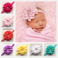 Baby Girls Rhinestone Headband Elastic Toddler Kids Hairbow Photo Cute Headwear