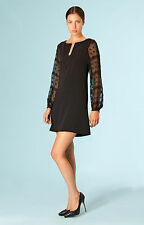 Hale Bob Black Satin Shift Dress w Sheer Long Sleeve XXS XS NWT $95 3LBM6197