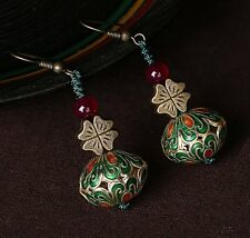 NEW jewelry dangle Earrings enamel cloisonné Four Leaf Clover agate FREE GIFT