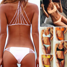 Womens Push-up Padded Bandage Bikini Set Swimsuit Triangle Swimwear Bathing Y532