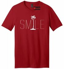 Smile Graphic Tee Palm Tree Mens V-Neck T  Shirt Beach Bum Happy Ocean Tee
