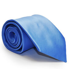Formal Tailor Cornflower Blue Satin Mens Wedding Tie & Hankie